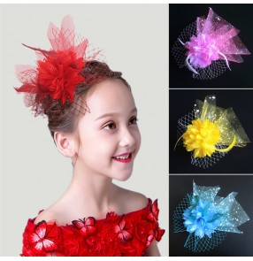 Girls model kids host modern dance hair accessories pillbox hat kids ballet latin stage performance headdress